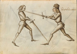 A two-time parry-riposte using the Krumphau from Hans Talhoffer. (Codex Icononografico 394a, 11v)