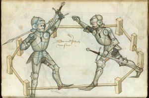 Folio 86v. Two manly men in armor.